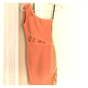 Marciano peach coral one shoulder bandage dress